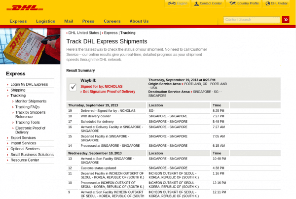 tracking a DHL express order package