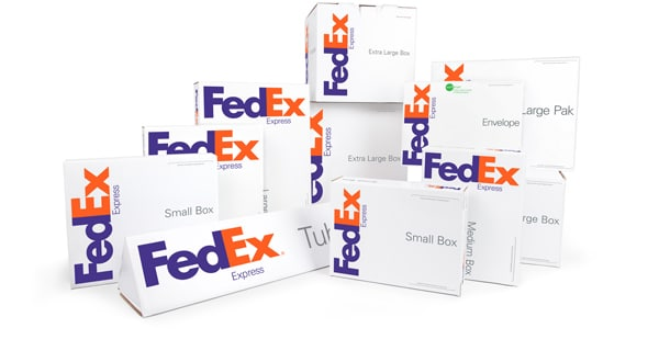 wrapped packages with FedEx logo