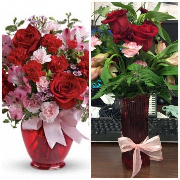 differences between Flower Express bouquets as ordered and as delivered