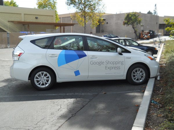 Google Express fleet car with new brand logo