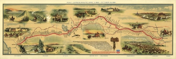 old map of the initial route of the Pony Express delivery service