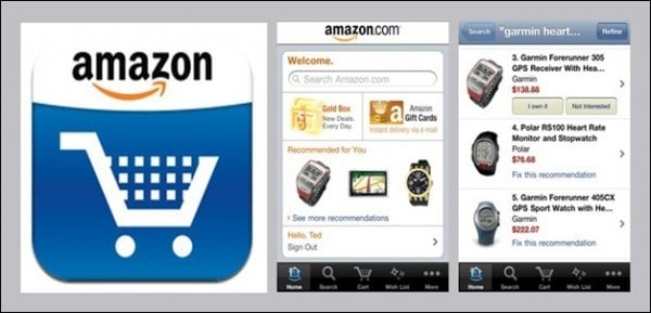 amazon.com mobile app captures from smartphone
