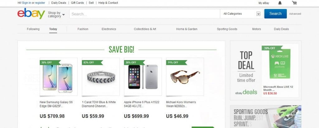 screenshot of the landing page on eBay