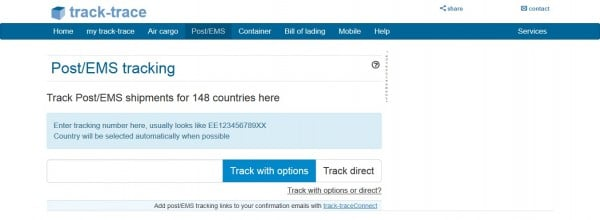 Track and Trace tracking number form