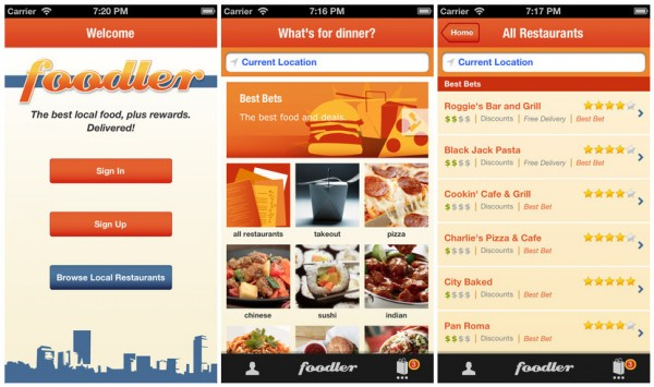 interface of mobile food delivery application Foodler