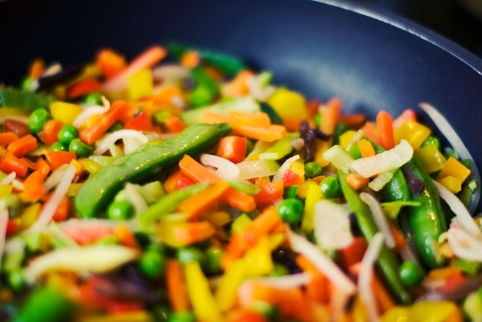vegetables in a frying pan