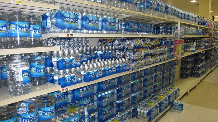 deer park water in supermarket