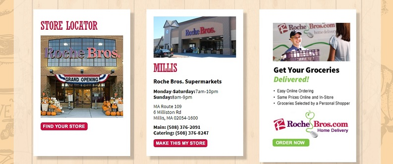a store locator function on the a screenshot of the Roche Brothers homepage