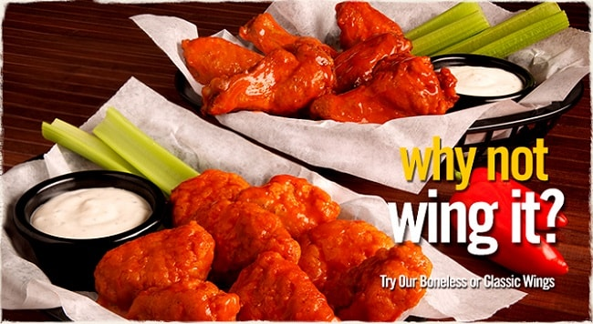 two bowls of Round Table King Arthur boneless and classic wings