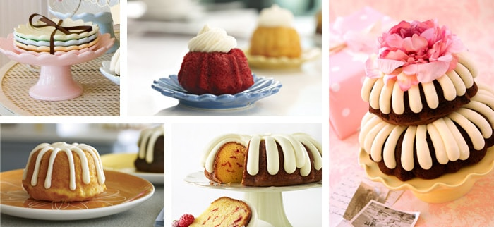 different types and flavors of bundt cakes placed on cake supports or tables