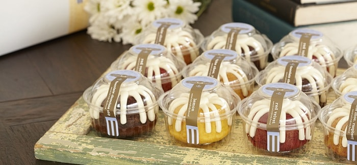 small Nothing Bundt cakes, each in its own individual packaging