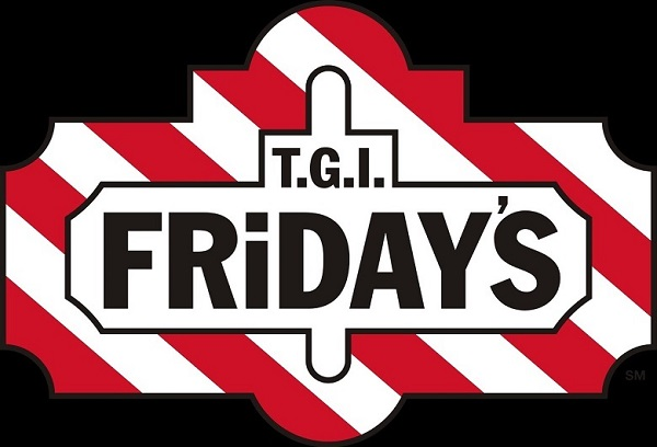 the TGI Friday's logo created with black letters on a red and white background