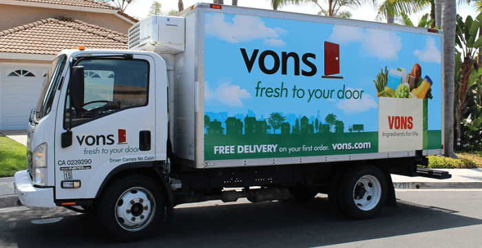 Vons truck outside a home