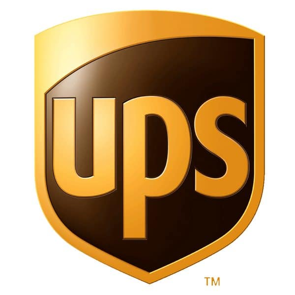 UPS yellow letter logo on black shield background