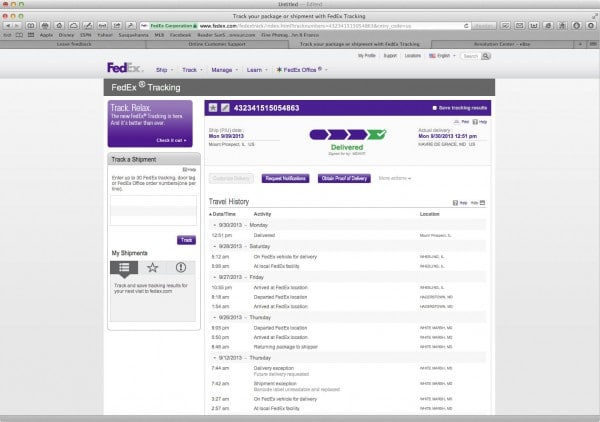 order and package tracking form on FedEx profile page