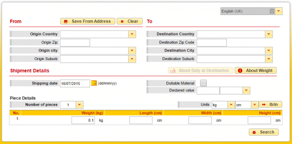 online form for checking ETA of DHL express package