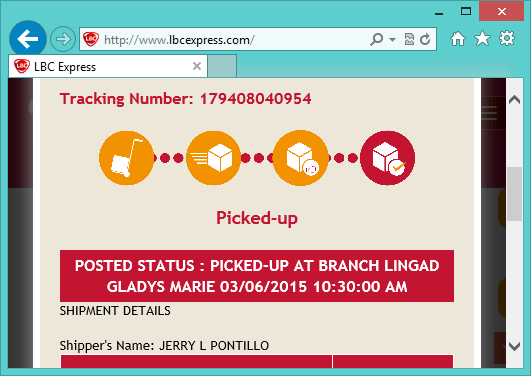 lbc package tracking status chart