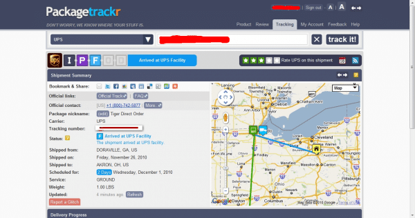 detailed international package tracking map from PackageTrackr
