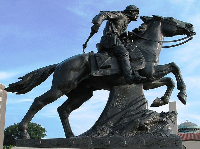 statue of historic Pony Express horseback rider in the United States
