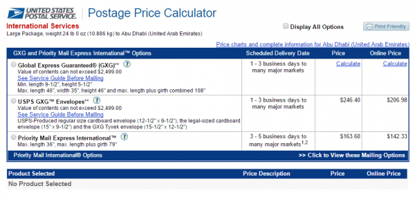 postage price calculator from United States Postal Service
