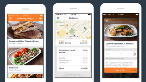 interface of mobile app for food delivery Square