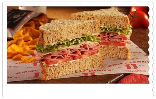 Gourmet smoked ham giant club sandwich from Jimmy John's