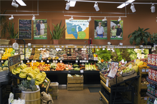 interior of a Wisconsion food co-operative with fresh whole foods