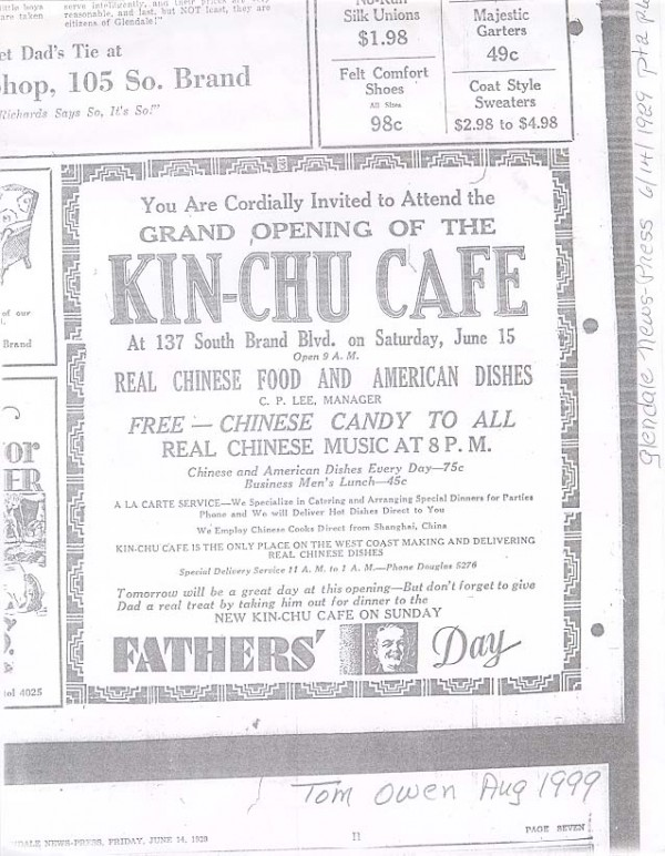 Kin-Chu cafe newspaper ad from the 1920s, in Los Angeles