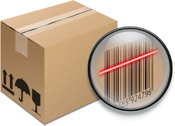 3d rendering of package box with barcode being scanned by infrared beam