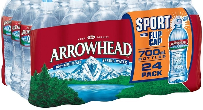 arrowhead water delivery logo on box of bottles