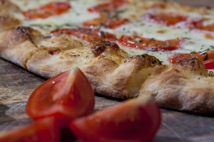 pizza and tomatoes