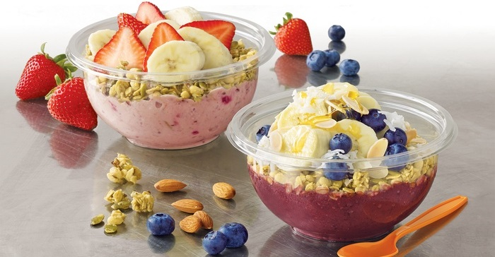 two bowls with Jamba Juice goodies