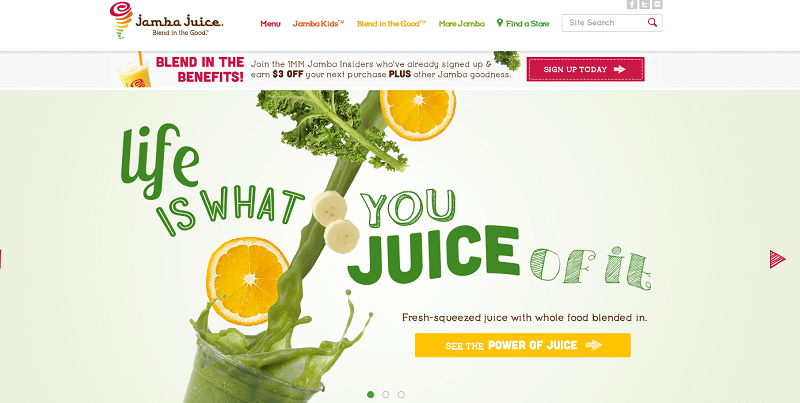 Jamba Juice website homepage