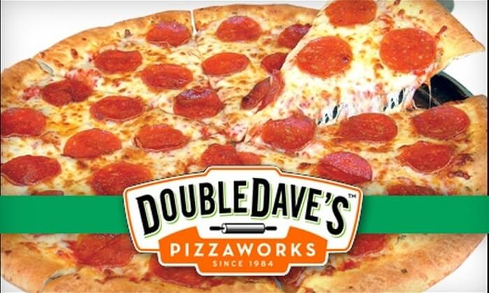 double dave's logo on a sliced pizza