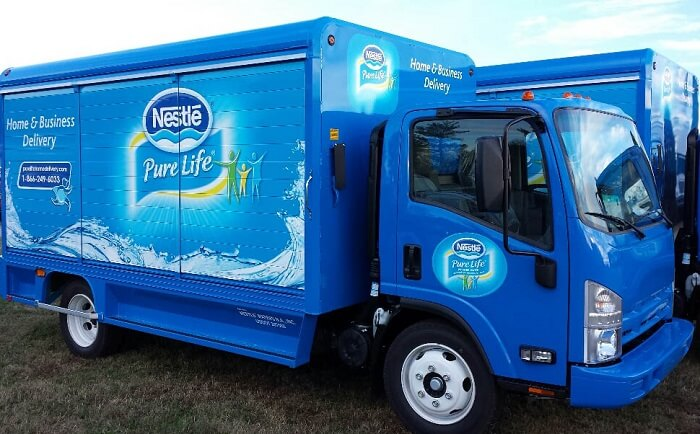 Nestle water delivery service truck