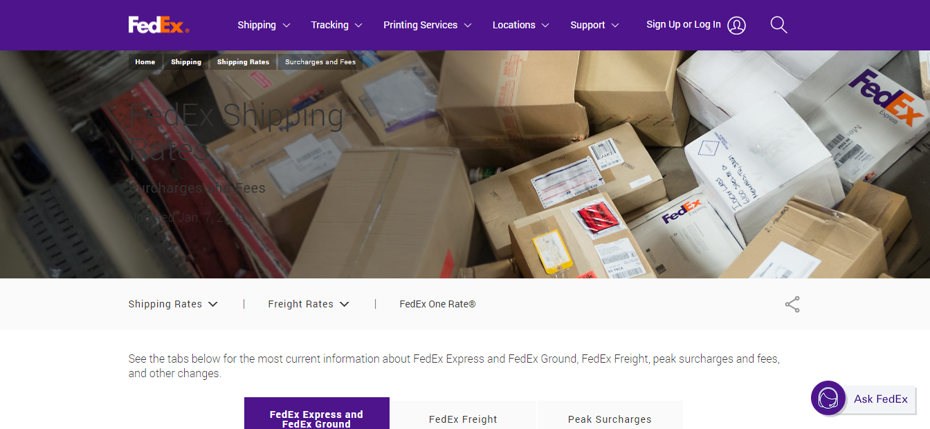fedex shipping rates on the website