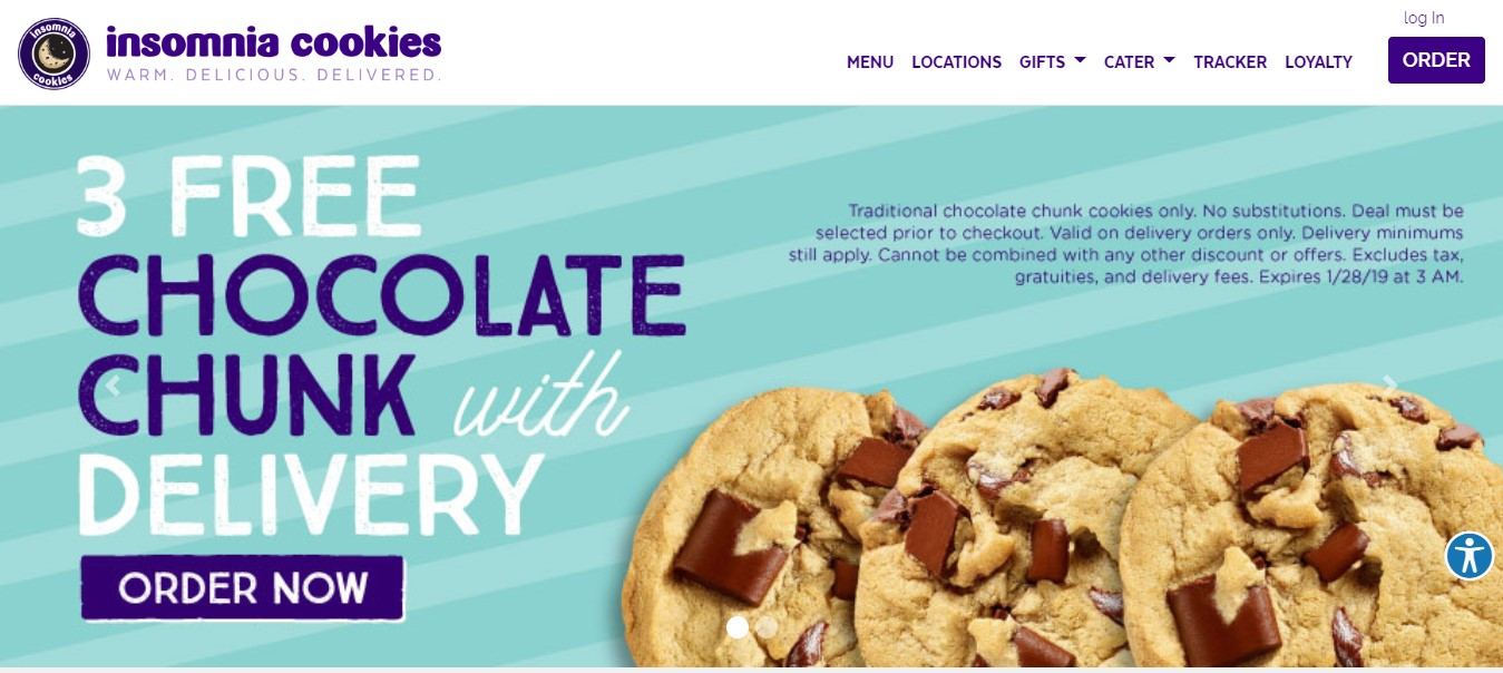 Insomnia Cookies order page