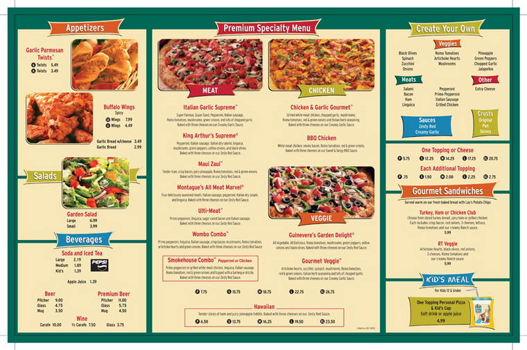 Round Table Pizza's menu